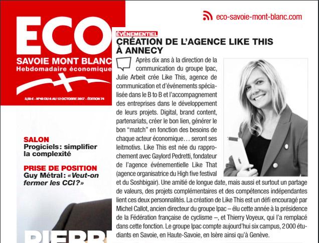 Article de Presse Eco Savoie Mont Blanc